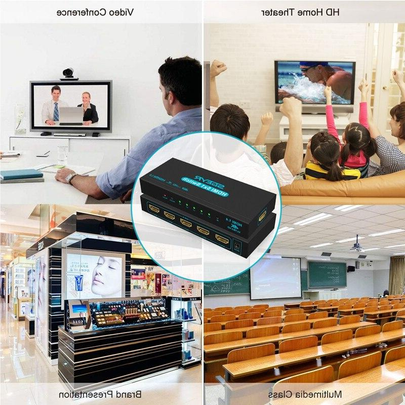 4K Port <font><b>Switch</b></font> In 1 Out Adapter <font><b>HDMI</b></font> Switcher Splitter connect 5 HD devices 1 PS3 DVD with