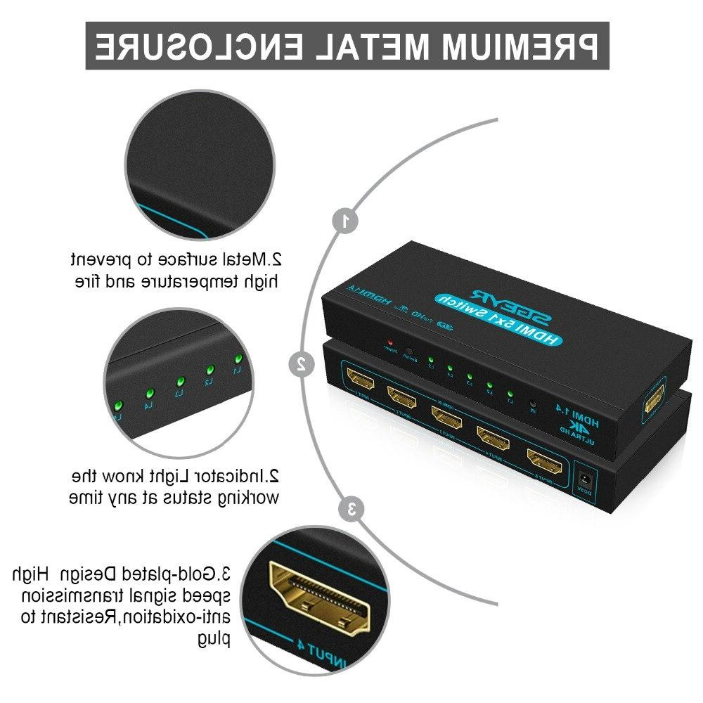 <font><b>Switch</b></font> 5 In 1 Out Switcher 1080P 5 1 HDTV PS3 with IR