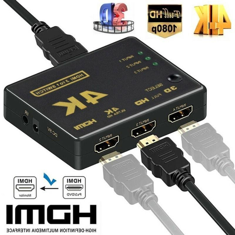 4K HDMI 2.0 Cable Splitter Switch Box Hub 3D IR Remote Contr