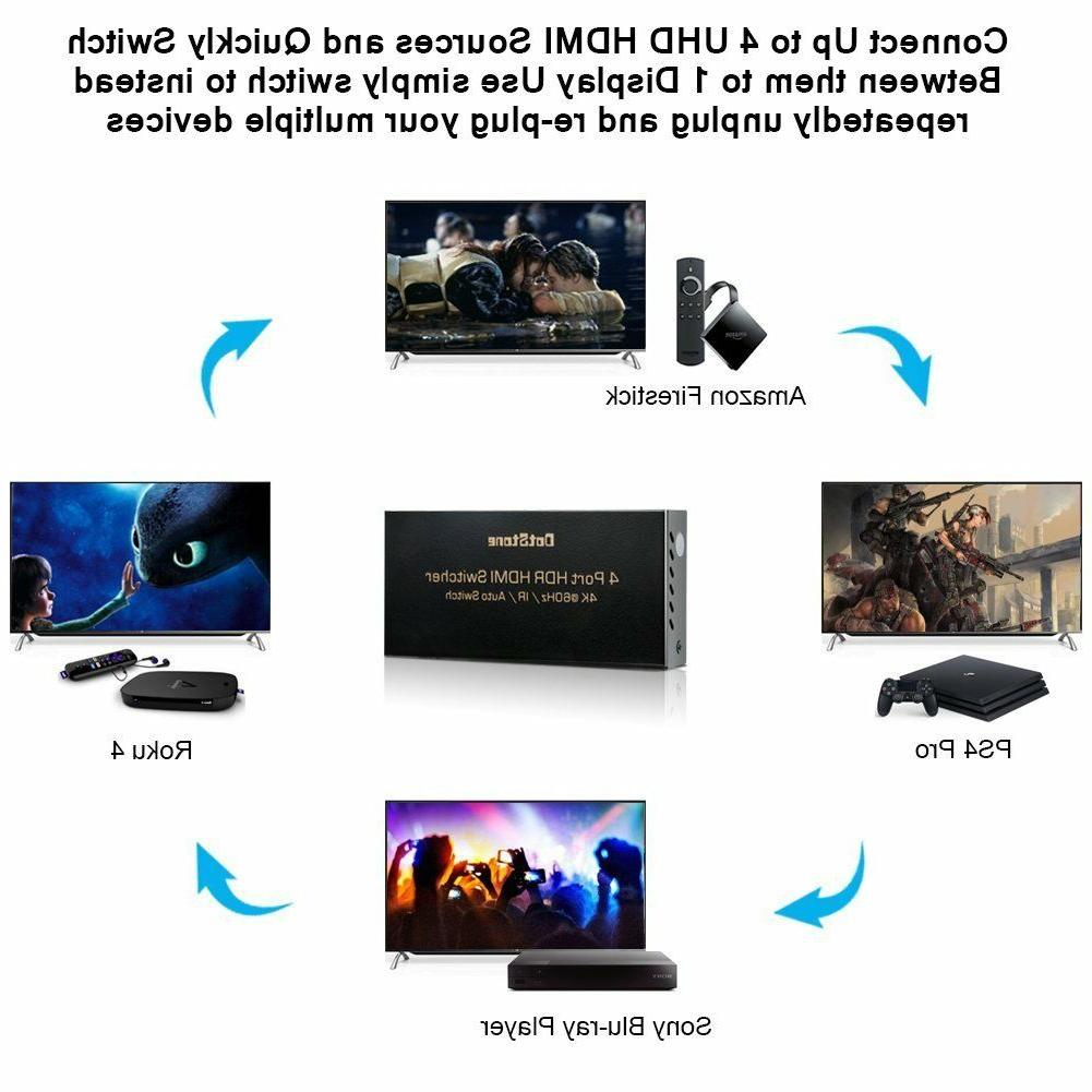 4K HDMI 2.0 Switch Ultra HD 4 Speed Selector