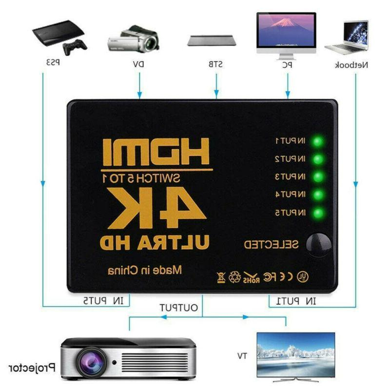 1080P 5 In 1 HDMI Splitter Hub Switch Adapter Switcher 4K Ul