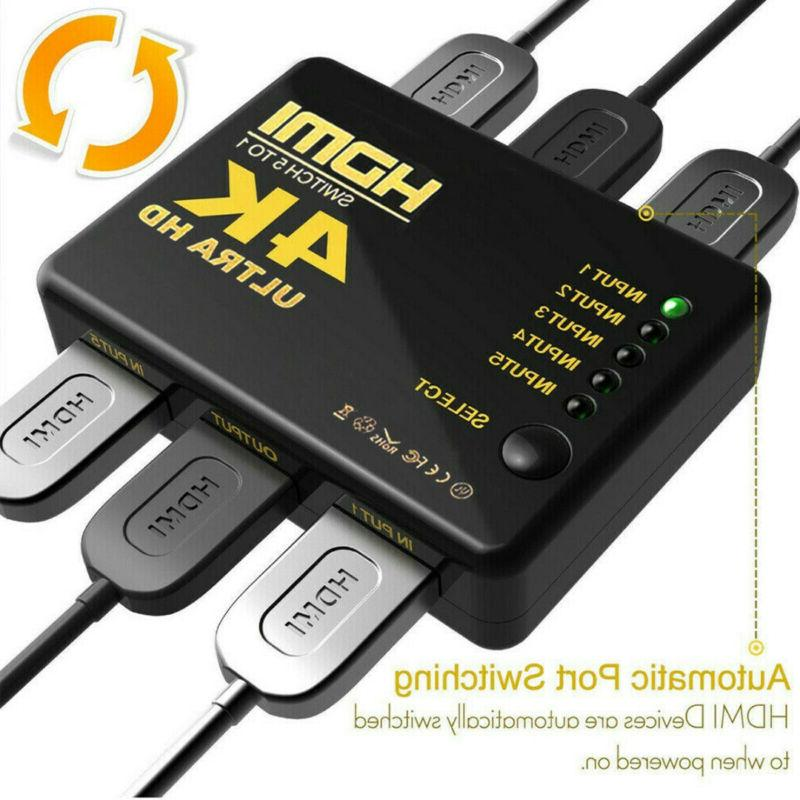 5 HDMI Splitter Adapter 4K Ultra HD 3D Remote