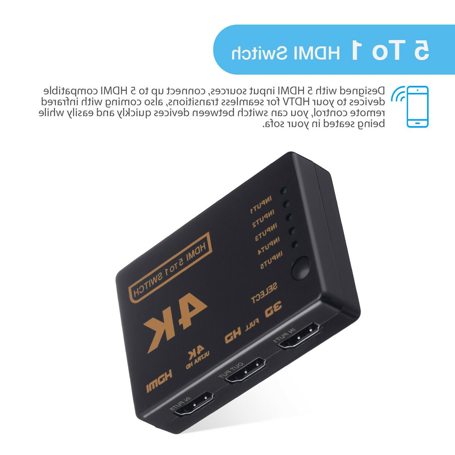 5Port 4K HDMI Switch Splitter Hub Remote