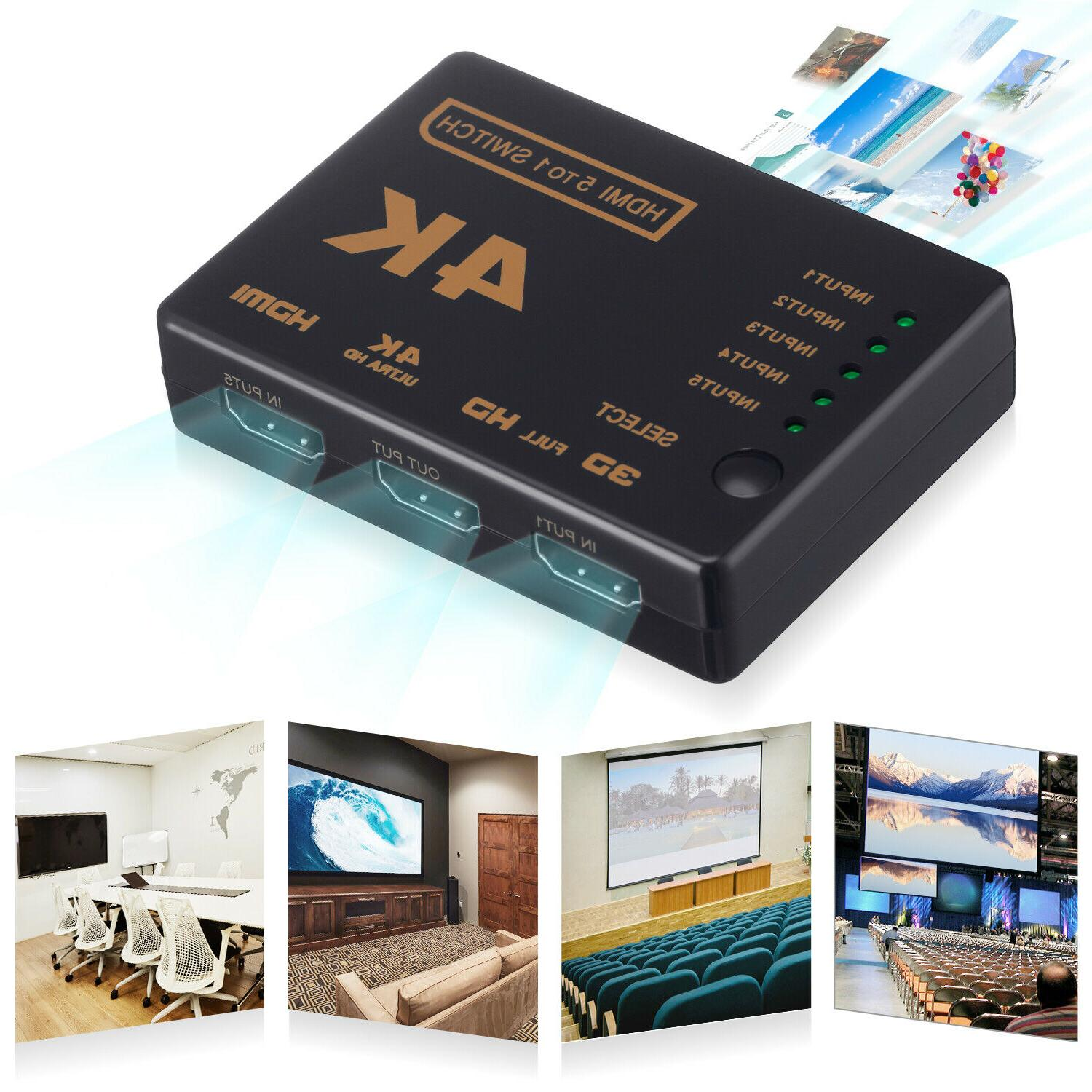 5Port 4K HDMI Switcher Splitter Remote Control
