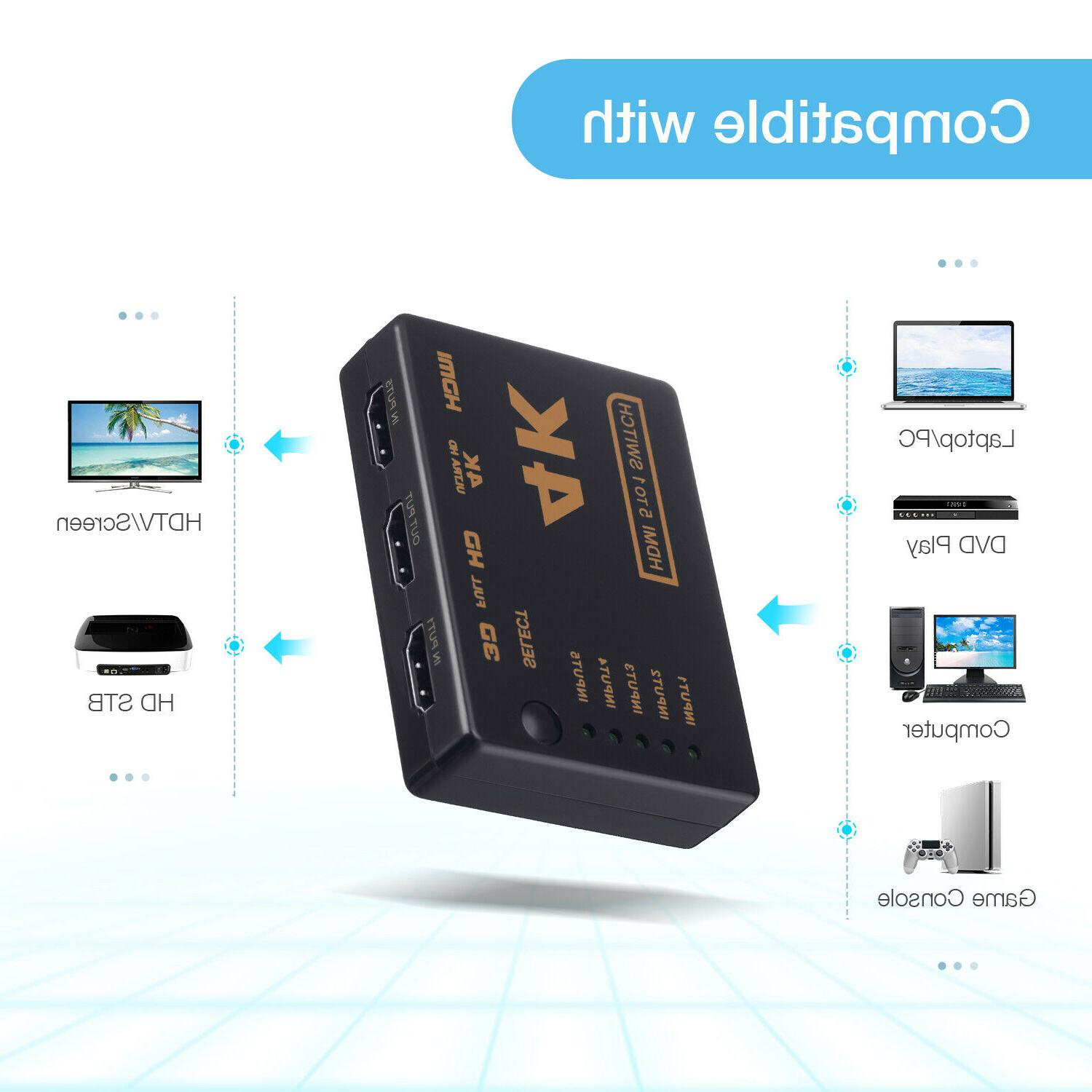 5Port 4K Switcher 3D 1080P Splitter