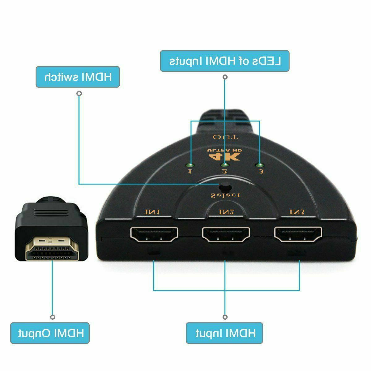 3 Hdmi Switch Switcher Splitter Box Cable 4k 1080P For Xbox