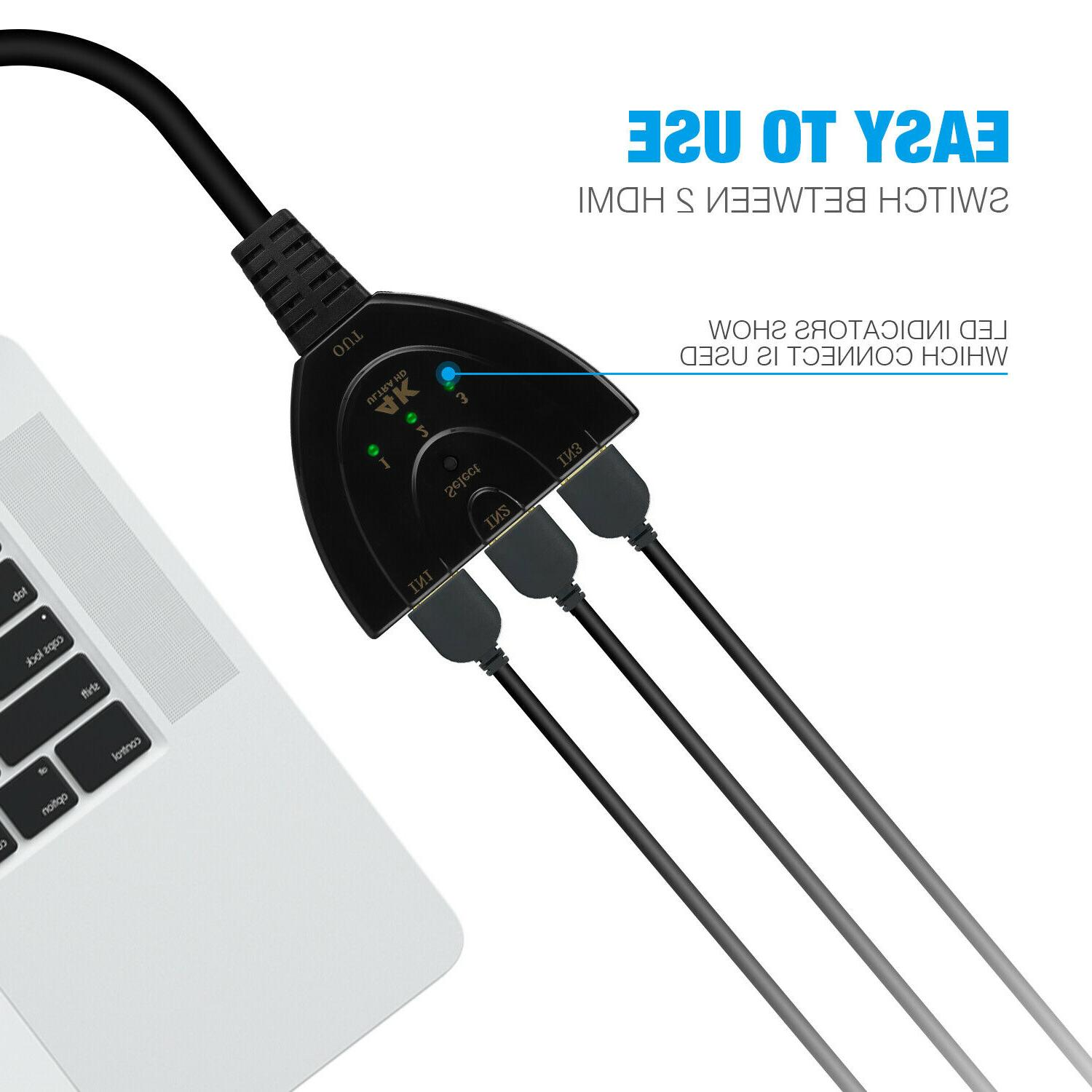 3 Switcher Splitter Cable 4k HD 1080P For PS4
