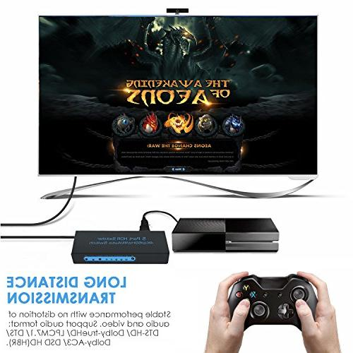 4K@60Hz HDMI 5x1,FiveHome 5 HDMI with Support Auto Switch, HDCP 2.2,HDR,Full HD/3D