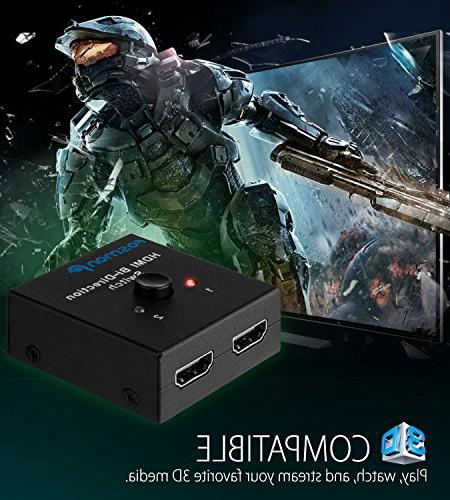 Fosmon 2 Port Ultra 4K@60Hz HDMI Switcher HDCP for HDTV, Satellite, Xbox and More - 3D
