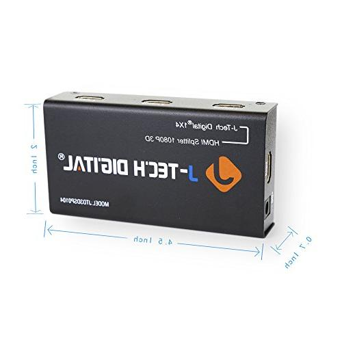 Ports HDMI 1x4 Splitter Certified for HD HD and Max Bandwidth of 10.2Gbps