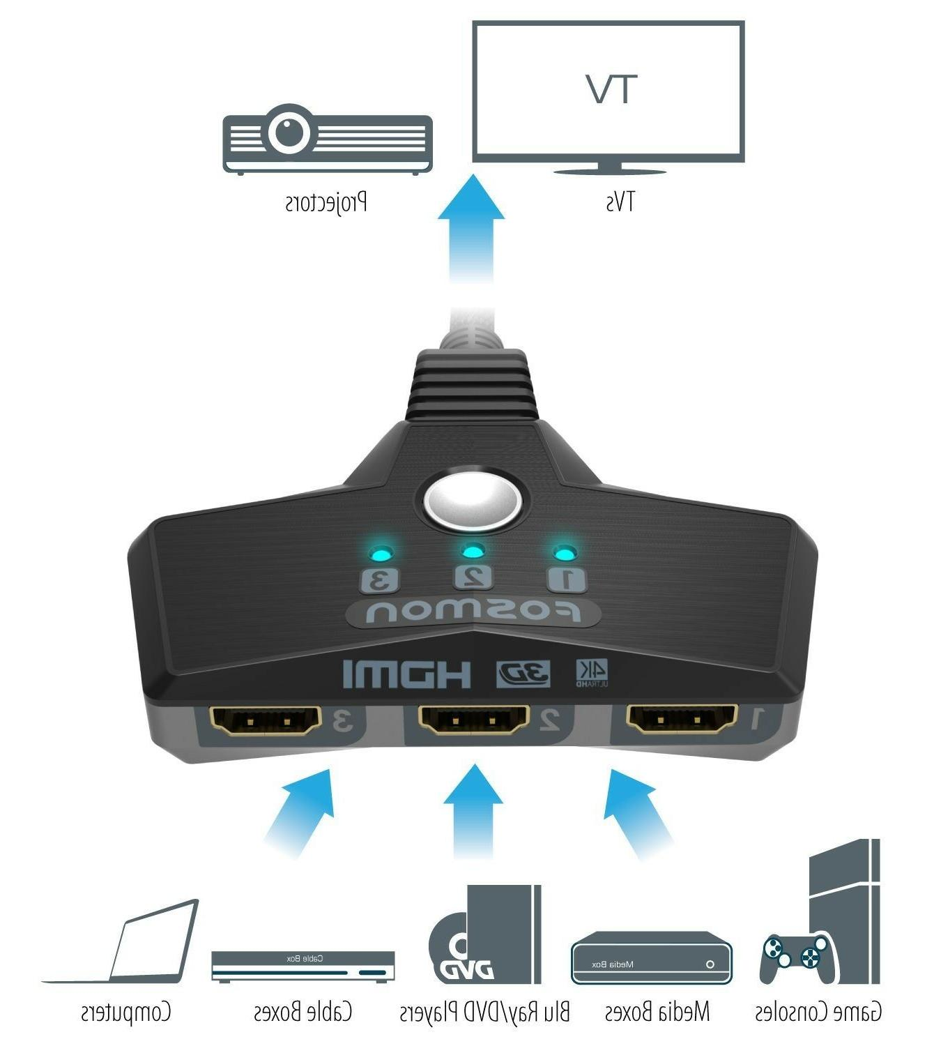 Fosmon 3x1 Speed HDMI Switch with Braided Pigtail