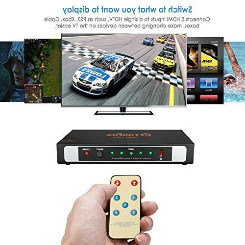 Rasfox 5-Port HDMI Switch Switcher Selector Splitter Remote; 5 In Out; Connect 5 HD devices to 1