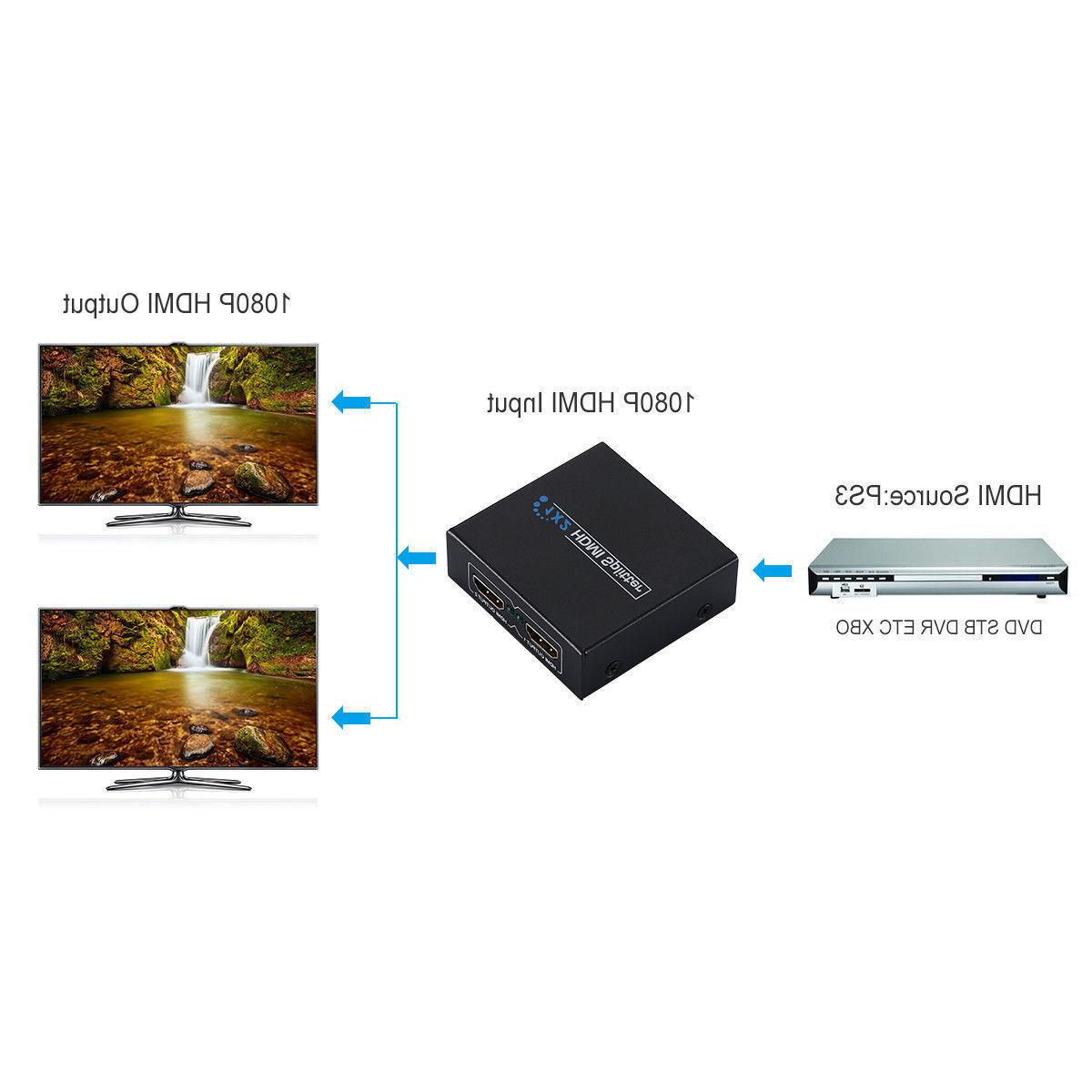 Full HD Splitter 1X2 Repeater Amplifier 3D 1080p 1 2 out