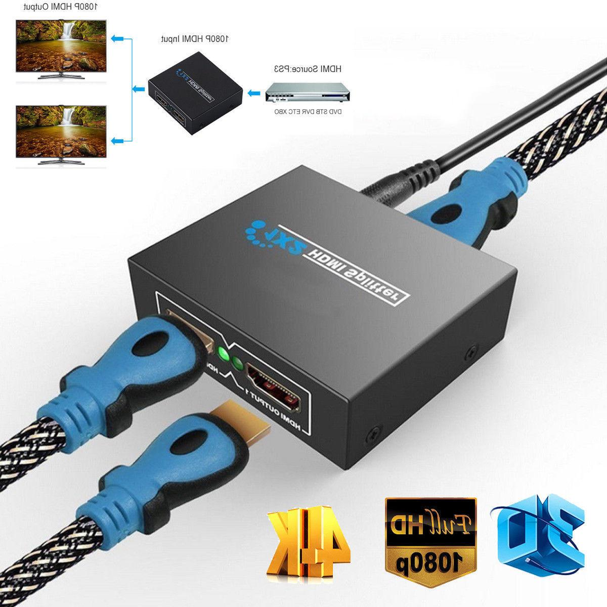 Full HDMI 1X2 Repeater 3D 1080p 4K 1