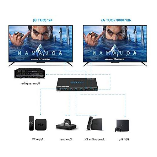 EZCOO HDMI 2.0 Matrix 4x2 60Hz 18g 18Gbps Dolby Vision Update,HDMI Scaler Play &1080P Together,EDID DIP Switch,HDMI Matrix Remote