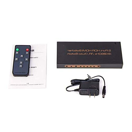ROOFULL 5 in Out HDMI 2.0 Switch 2.2 Dolby 1080P 3D, 5 Pors HDMI Switcher with IR Compatible Fire TV, TV and More