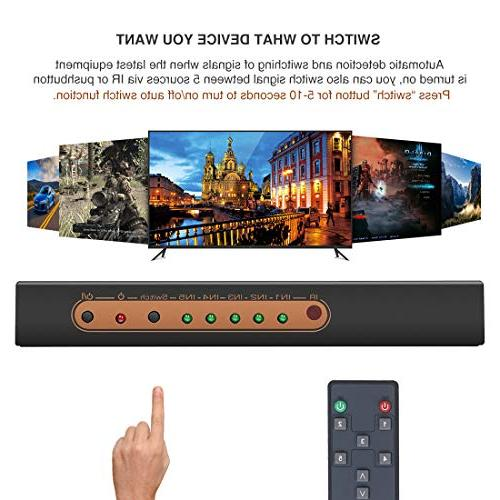 ROOFULL 5 in 1 Out 2.0 4K HDR HDCP 2.2 1080P 3D, Pors HDMI 2.0 IR Compatible PS4 Pro, Fire TV, Apple and