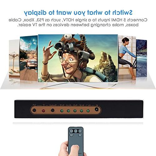 4K@60Hz HDMI Awakelion 5 1 Out HDMI Switcher IR Support HDCP 2.2,UHD,HDR,Full