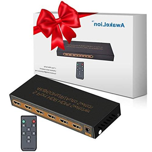 4K@60Hz Switch Awakelion 1 Out HDMI 2.0 Switcher Support HDCP 2.2,UHD,HDR,Full HD,3D,1080P