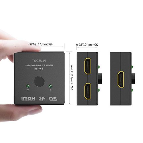 PlusDot HDMI Switch BiDirectional 2.0, 10.2GBPS Transmission, 4K/3D/1080/HDCP Passthrough, Compatibility