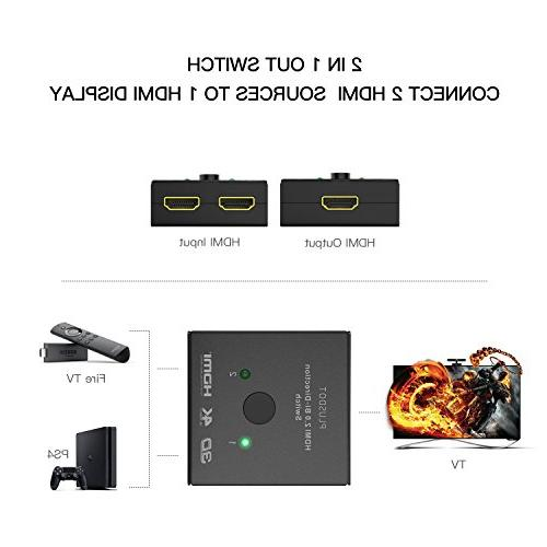PlusDot 2-in-1 Switch Switcher, HDMI 4K/3D/1080/HDCP Maximum Compatibility