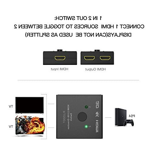 PlusDot 2-in-1 Switch HDMI 2.0, 10.2GBPS Supports 4K/3D/1080/HDCP Compatibility