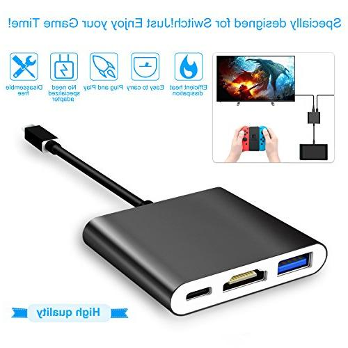 FastSnail HDMI Type Hub Adapter Switch, Cable for