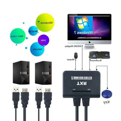 HDMI KVM Switch Button Switcher Cable Monitor Mouse