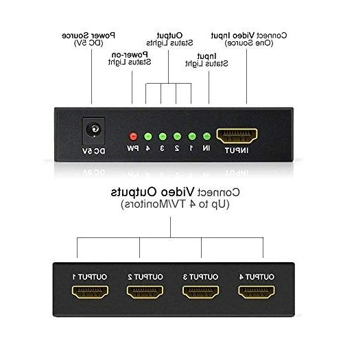 Tolmnnts 43223-2333 1 4 Out, HDMI Splitter Powered AC Full Xbox PS3 PS4 Fire HDTV 1 to Outputs
