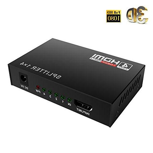 Mcscants HDMI Splitter in 4 V1.4 Powered 1x4 Supports 4K@30Hz Compatible PC STB Xbox Roku Player HDTV