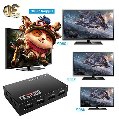 Mcscants HDMI Splitter 1 in V1.4 Powered Ports Box Supports 4K@30Hz Ultra HD 1080P Compatible PC Xbox PS4 Fire