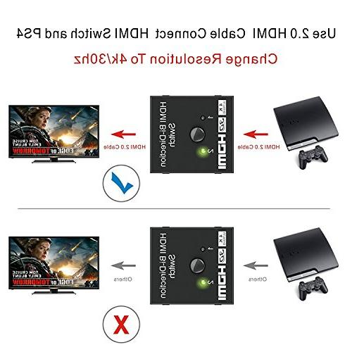 HDMI HDMI Switch Bidirectional Input to Output 1 in to Out, Supports Switcher HDTV/Blu-Ray Player/DVD/DVR/Xbox etc.