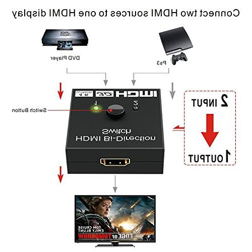 HDMI Splitter, GANA Switch to Output 1 in to Out, Supports Switcher Player/DVD/DVR/Xbox etc.