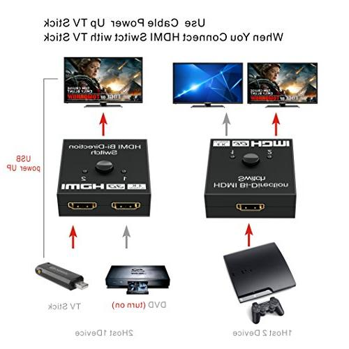 HDMI GANA Switch Bidirectional 2 to 1 1 in Out, Supports Passthrough-HDMI Switcher for HDTV/Blu-Ray Player/DVD/DVR/Xbox etc.