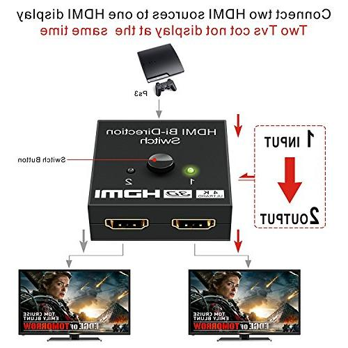 HDMI Switch Input to Output 1 in Out, 4K/3D/1080/HDCP Passthrough-HDMI Switcher for HDTV/Blu-Ray Player/DVD/DVR/Xbox etc.