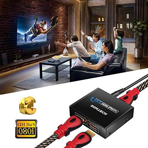 SOWTECH 1X2 HDMI Version 1080P Powered 1 in 2 Support Dual