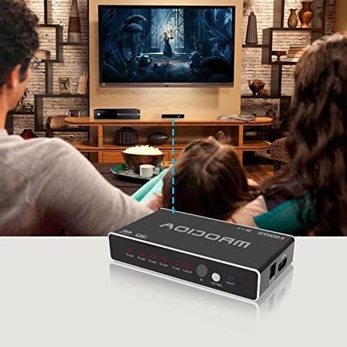 mrocioa Switch, Port 4K Hdmi Box Remote, 5 1 Hdmi for One/Fire TV/Apple ray.