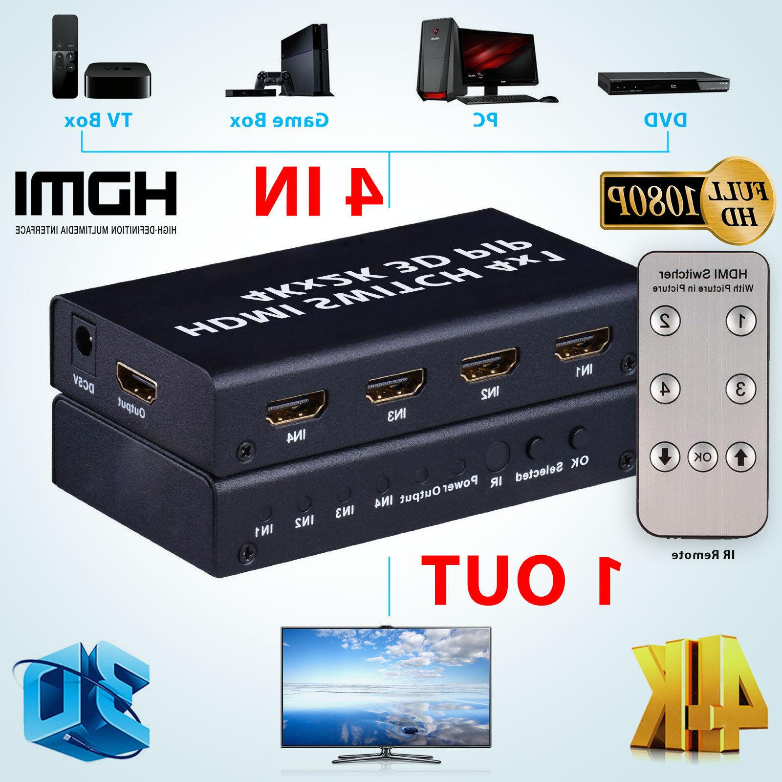 4 Port 4x1 Switch Box 3D 1080P PIP Remote