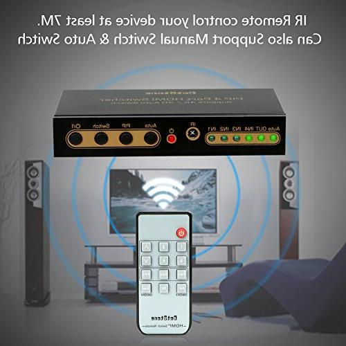 DotStone with PIP Off/On HDMI Hub 1 Out HDMI Switcher Selector Remote Support HDCP Full HD 4K 3D