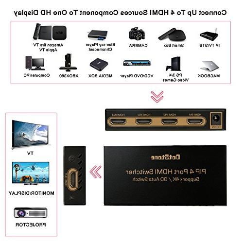 DotStone HDMI Switch 4×1 with Off/On Hub Port 1 HDMI Selector with Remote Support HDCP Full 4K 3D