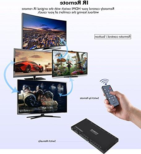 VORKE HDR 4k2k@60Hz18Gbps 4 Out HDMI2.0b Auto ARC Optical Output Remote Control