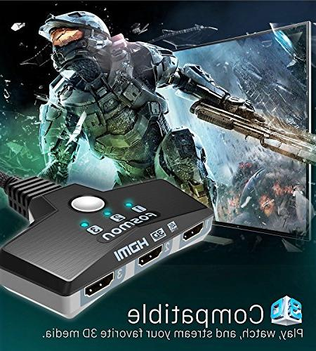 Fosmon HDMI HDR, HDCP 2.2, Wall Mountable Switcher for Apple TV 4K, Game More
