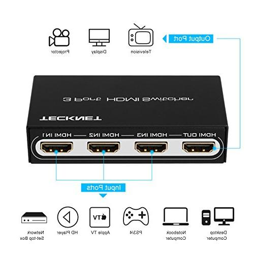 HDMI Switch HDMI Hub 3x1 Auto HDMI Box 1080P for PS3, Laptop, Blu-ray TV and