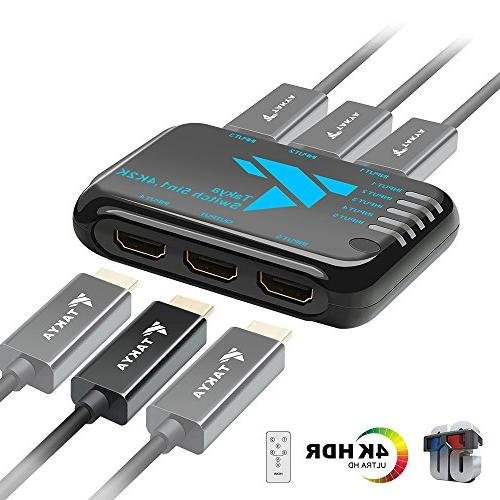 Takya HDMI Switcher Remote Control 5 HDMI in Out, Support Full 4K 3D
