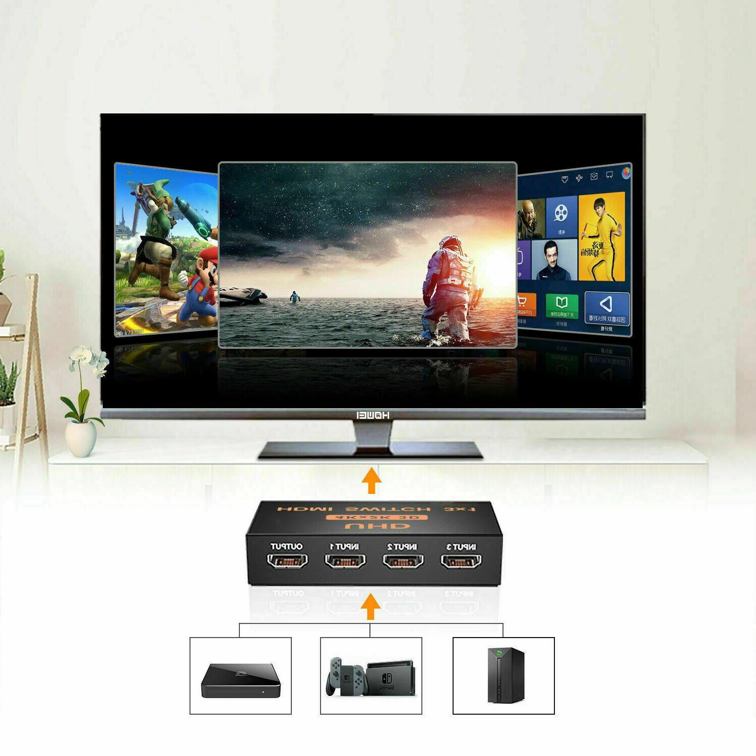3 in HDMI Splitter Switch Adapter 4K 3D With