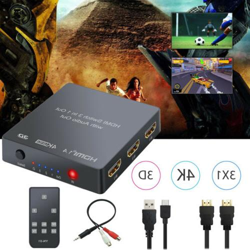 3 port HDMI Switch Audio Analog Optical Toslink Output