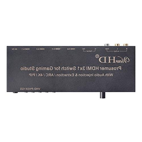 ViewHD Prosumer Switch HDMI v1.4 Audio Injection/Combiner | Audio Extractor / RCA L/R Audio Converter | Model: VHD-PH3X1GS