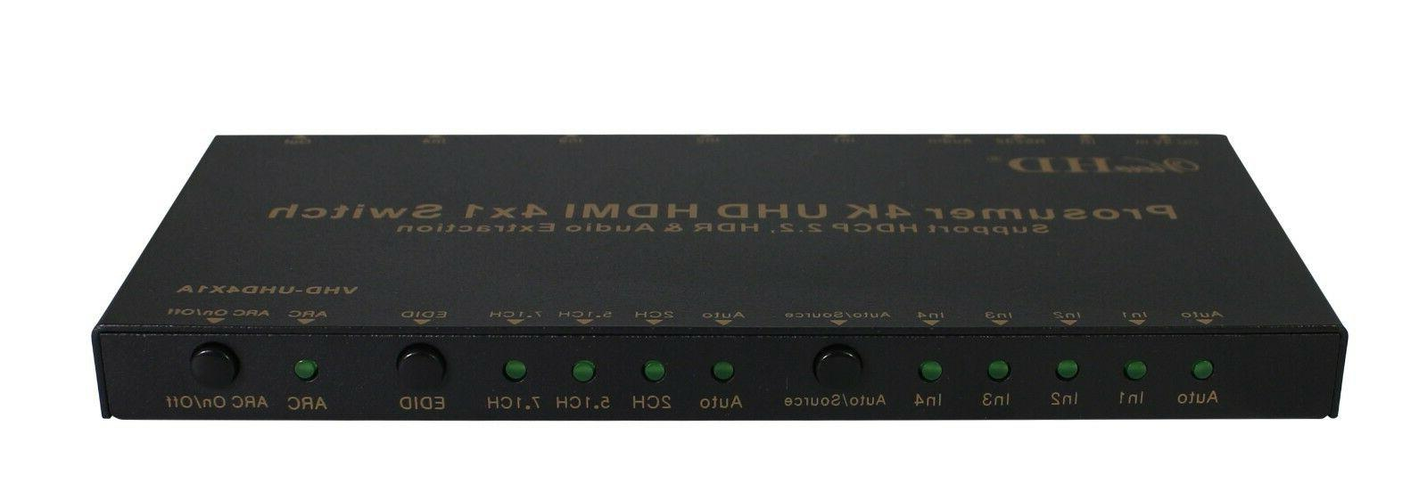 viewhd prosumer uhd 18gbps hdmi 4x1 switch support v20 hdcp
