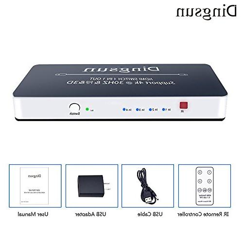 HDMI Switch, 4 HDMI Switch with HDMI Port, Box 4K, 3D