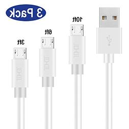 Micro USB Cable High Speed Charging, 3 Pack 3ft 6ft 10ft Pre